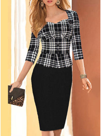 Plaid 3/4 Sleeves Bodycon Knee Length Elegant Dresses