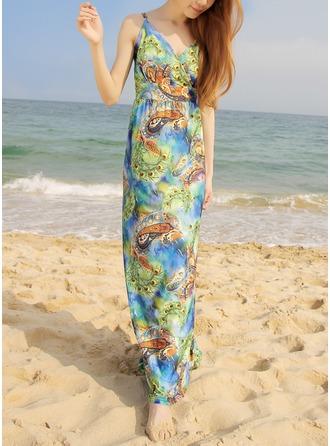 Print Bohemian V-neck/Strap Maxi A-line Dress