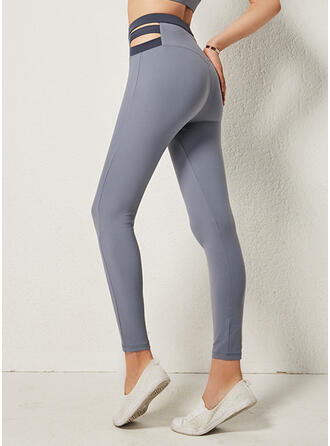 Solide Lang Lang Broodmager Solide sportieve Yoga Leggings