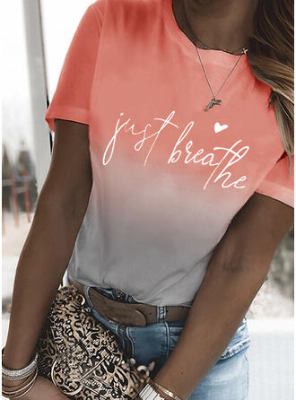 Figura Degradada Corazón Impresión Cuello Redondo Manga Corta Camisetas