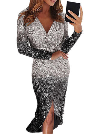 Sequins Long Sleeves Sheath Party Midi Dresses