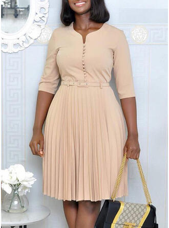 Solid 3/4 Sleeves A-line Knee Length Plus Size Dresses