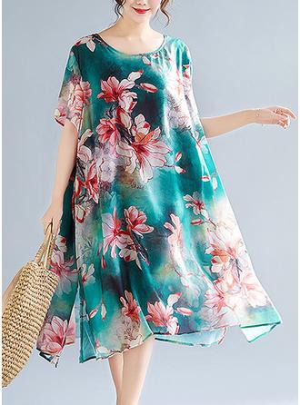 Print/Floral Short Sleeves Shift Midi Casual/Elegant Dresses