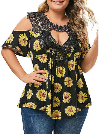 Lace Sunflower Print Cold Shoulder Short Sleeves Casual Plus Size Blouses