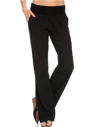 tasche arricciato Lungo Casuale Elegante Solido pianura Pantaloni