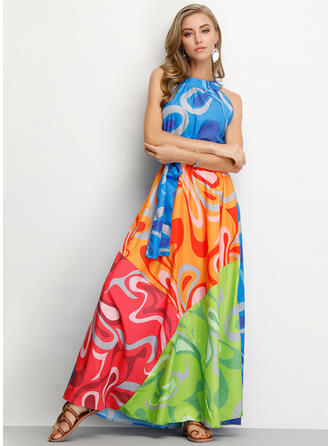 Print/Patchwork Sleeveless A-line Maxi Casual/Vacation Dresses