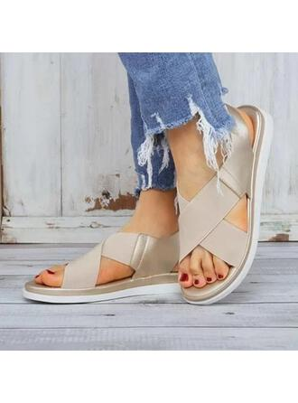 Women's Fabric PU Flat Heel Sandals Peep Toe With Elastic Band shoes