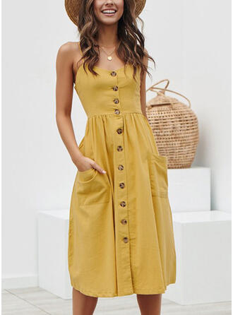 Solid Sleeveless A-line Casual/Vacation Midi Dresses