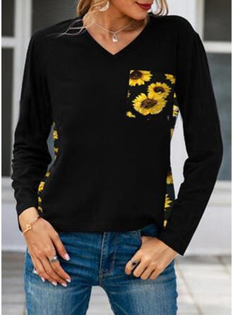 Sunflower Print V-Neck Long Sleeves T-shirts