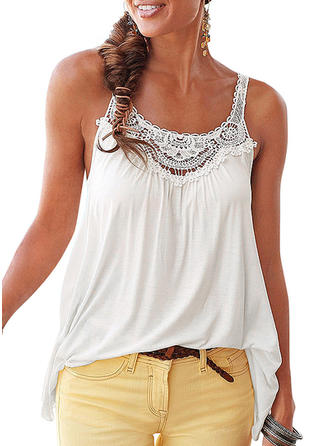 Solid Round Neck Sleeveless Casual Sexy Blouses