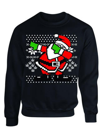 Men's Polyester Cotton Blends Print Santa Christmas Sweatshirt