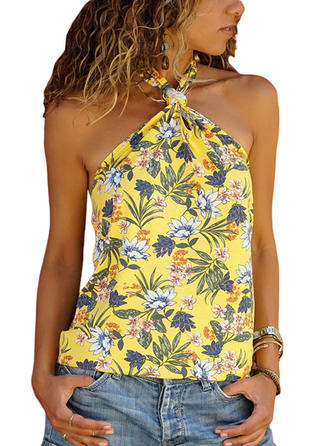 Print Sleeveless Casual Sexy Blouses