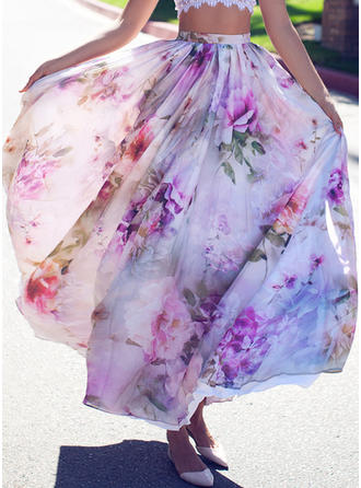 Chiffon Floral Maxi A-Line Skirts