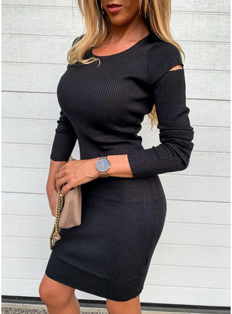 Solid Long Sleeves Bodycon Knee Length Little Black/Casual/Elegant Dresses