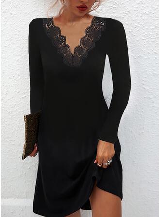 Solid Mâneci Lungi Bir Çizgi Până la Genunchi Negre/gündelik Patenci Elbiseler