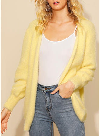 Solid Plain Collarless Cardigan
