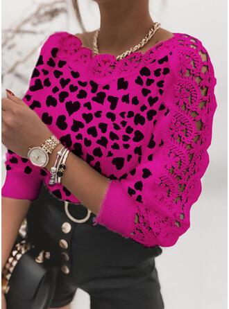 Impresión Encaje Corazón Cuello Redondo Casuales Suéteres