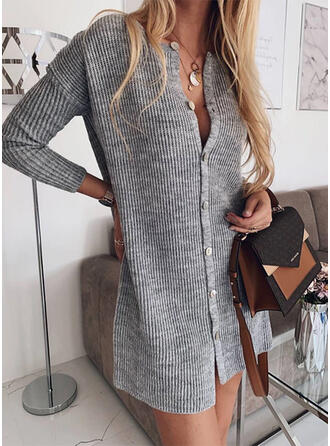 Solid Long Sleeves Shift Above Knee Casual/Long Dresses