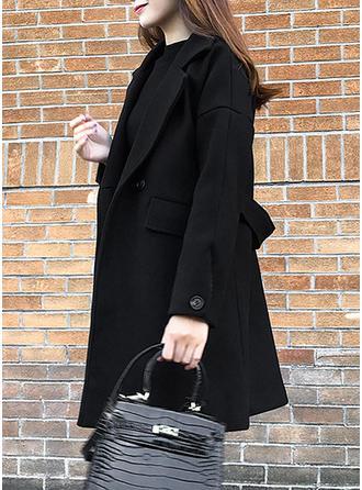 Wełniany Długie rękawy Jednolity kolor Wełna Płaszcze
