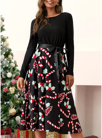 Print Long Sleeves A-line Midi Vintage/Christmas/Casual/Elegant Dresses