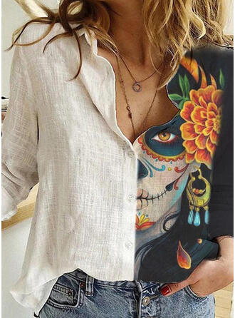 Stampa Floreale Risvolto Maniche lunghe Bottone Casuale Halloween Shirt and Blouses