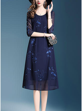 Embroidery Round Neck Midi Shift Dress