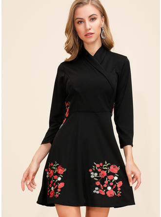 Embroidery/Floral 3/4 Sleeves A-line Above Knee Casual/Elegant Dresses