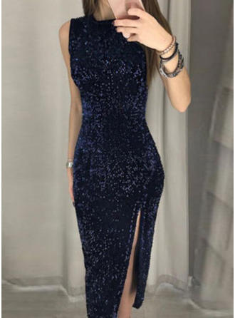 Sequins Sleeveless Sheath Midi Little Black/Party Dresses