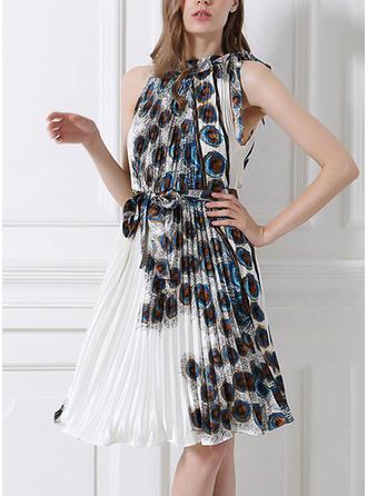 Print Ruffles Halter Knee Length A-line Dress