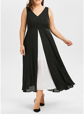 Color Block Sleeveless A-line Vacation/Plus Size Midi Dresses