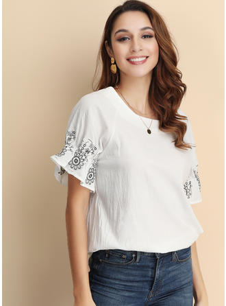 Embroidery Round Neck Short Sleeves Casual Elegant Blouses