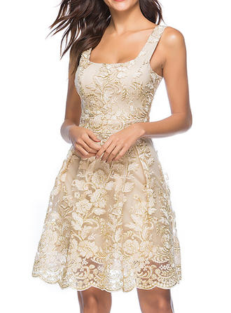 Lace Solid Strap Above Knee A-line Dress