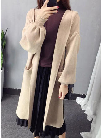 Polyester Hooded Plain Cardigan