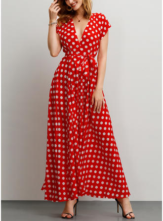 PolkaDot Short Sleeves A-line Casual Maxi Dresses