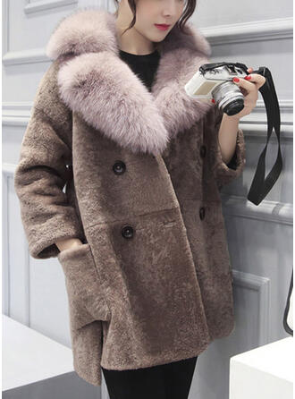 Long Sleeves Plain Faux Fur Coats