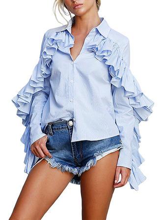 Polyester Lapel Plain Long Sleeves Shirt Blouses