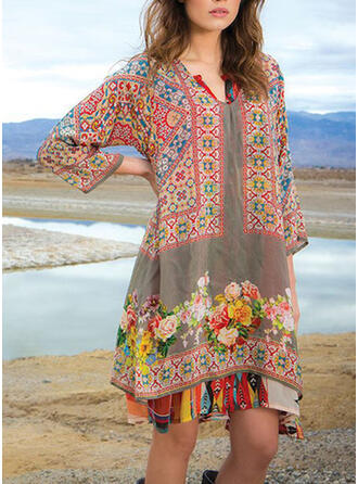 Print/Floral 3/4 Sleeves Shift Above Knee Casual/Vacation Dresses