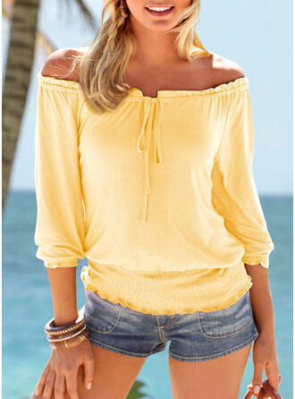 Solide Off the Shoulder Lange Mouwen Casual Blouses