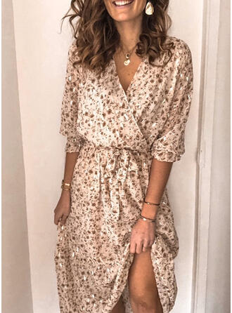 Print/Floral 1/2 Sleeves Sheath Casual Maxi Dresses