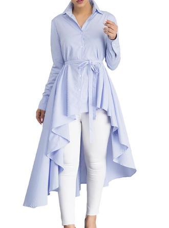 Mieszanki bawełniane Lapel Prążek Długie rękawy Nieformalny Bluzki