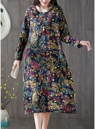 Print Long Sleeves Shift Midi Casual/Elegant Dresses