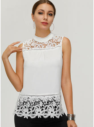 Lace Stand-up Collar Sleeveless Casual Sexy Blouses