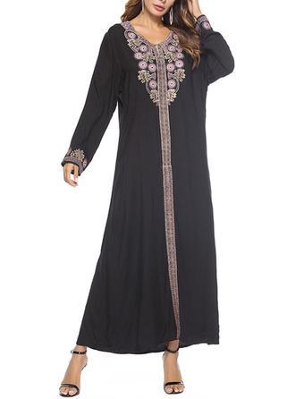 Jacquard Round Neck Maxi Shift Dress