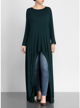 Solid Round Neck Maxi Shift Dress