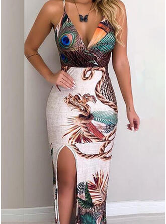 Print Sleeveless Sheath Sexy/Casual/Vacation Maxi Dresses