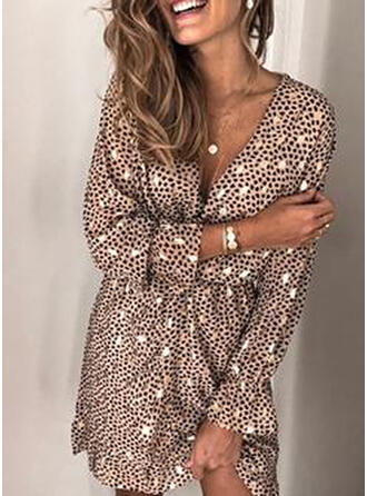 Print Long Sleeves A-line Above Knee Casual/Party Dresses