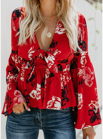 Print Floral V-Neck Long Sleeves Flare Sleeve Casual Vacation Blouses