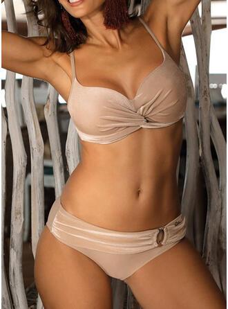 Solid Color Low Waist Strap Elegant Bikinis Swimsuits