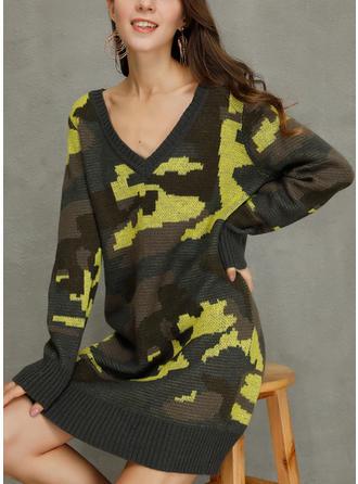 Print Long Sleeves Shift Knee Length Casual/Long Dresses