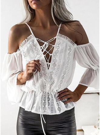 Patchwork Lace Cold Shoulder 3/4 Sleeves Casual Blouses